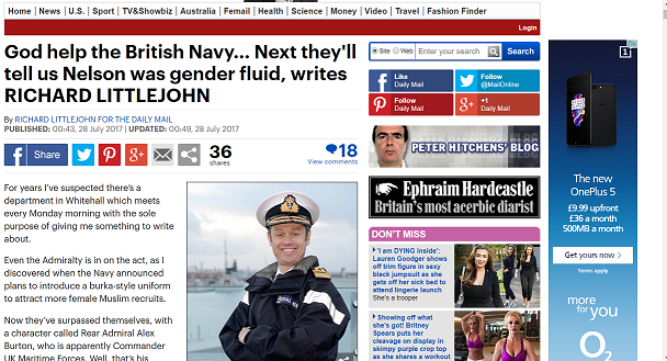 O2 advert on the Daily Mail online article about transgender people in the Navy