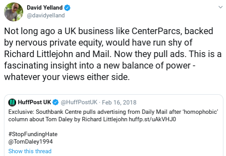 tweet to center parcs about mail ads